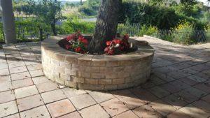 Terracotta bricks for flower bed
